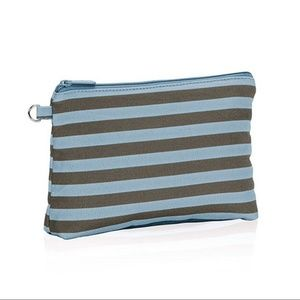 Thirty One Mini Zipper Pouch Blue Gray Stripe NEW